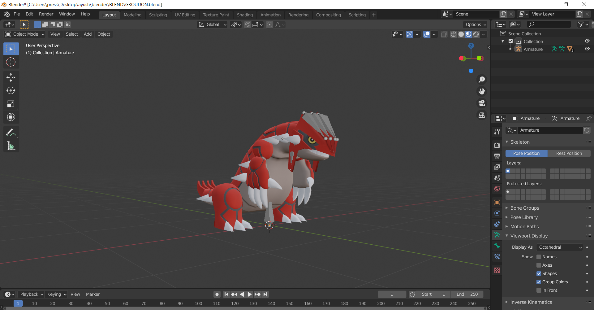 Rigged Pokemon groudon (from pokemon omega ruby) preview image 1